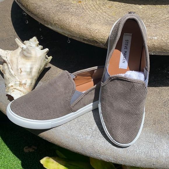 Steve Madden grey and white slip on shoes
